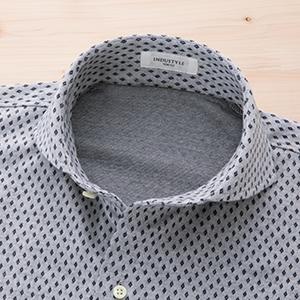 ニットネル小紋シャツ