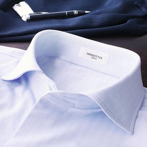 ニットシャツ 動体裁断 長袖 ヘリンボーン