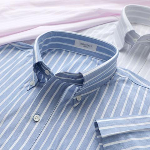 ボールドストライプ半袖シャツ